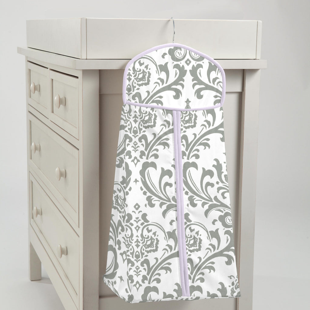 Product image for Lilac and Gray Traditions Damask Diaper Stacker