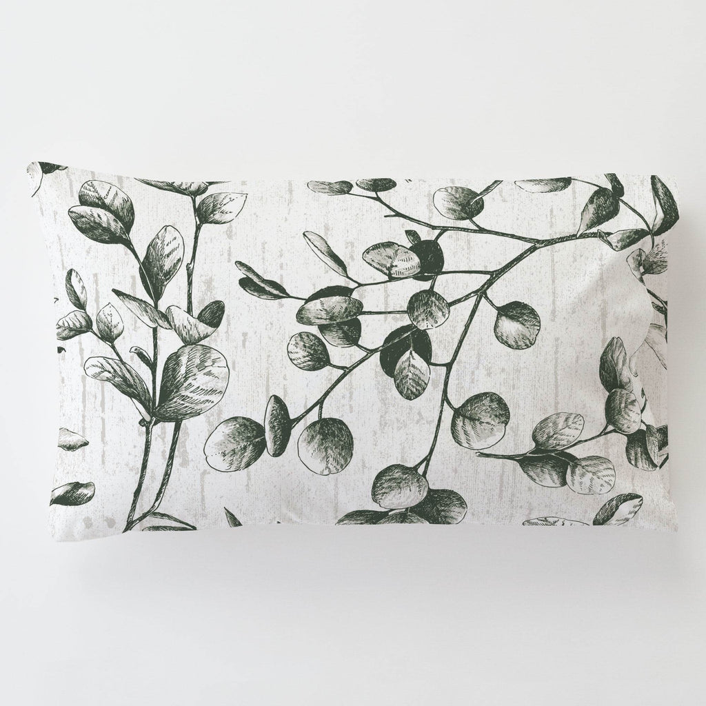 Product image for Dark Green Eucalyptus Toddler Pillow Case with Pillow Insert