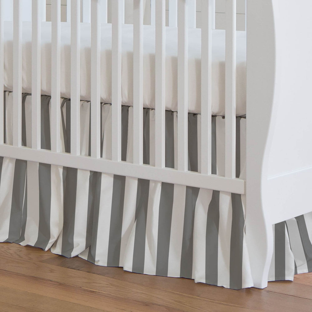 Product image for White and Gray Stripe Crib Skirt Gathered