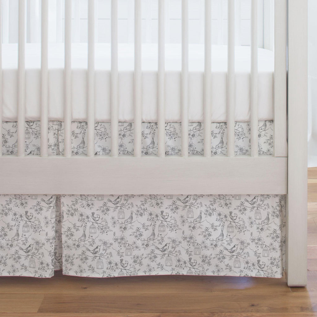 Product image for White and Gray Bird Cage Crib Skirt Single-Pleat