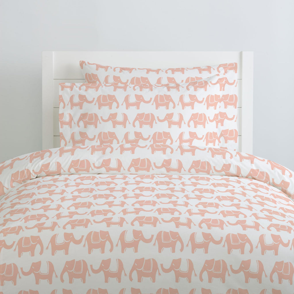 Product image for Peach Marching Elephants Duvet Cover