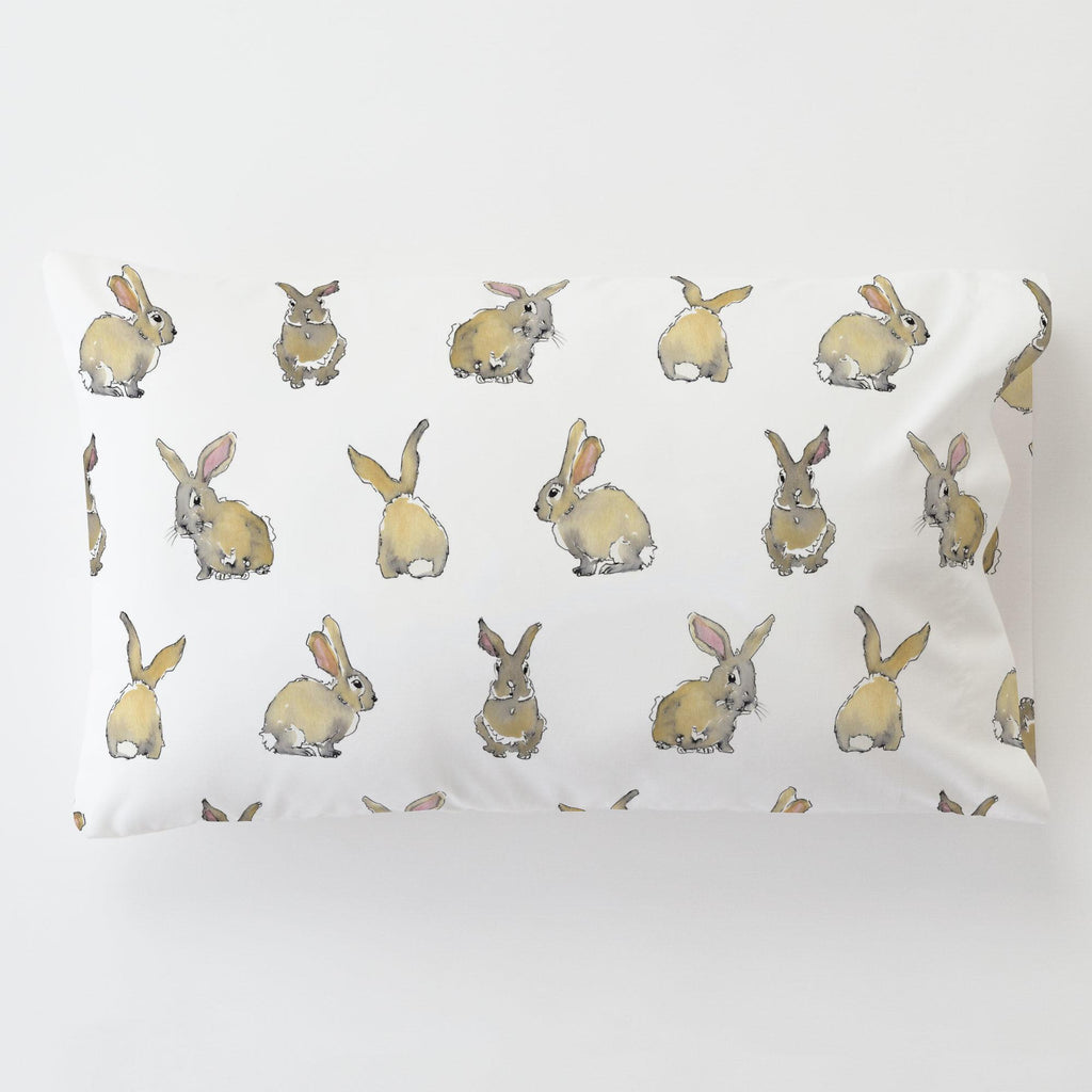 Product image for Watercolor Rabbits Toddler Pillow Case with Pillow Insert