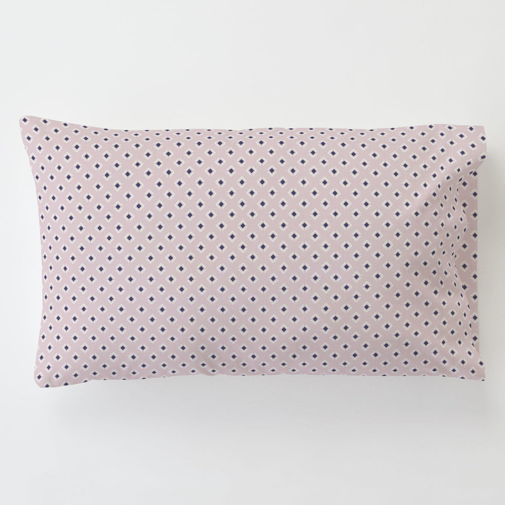 Product image for Pink and Navy Diamond Toddler Pillow Case with Pillow Insert