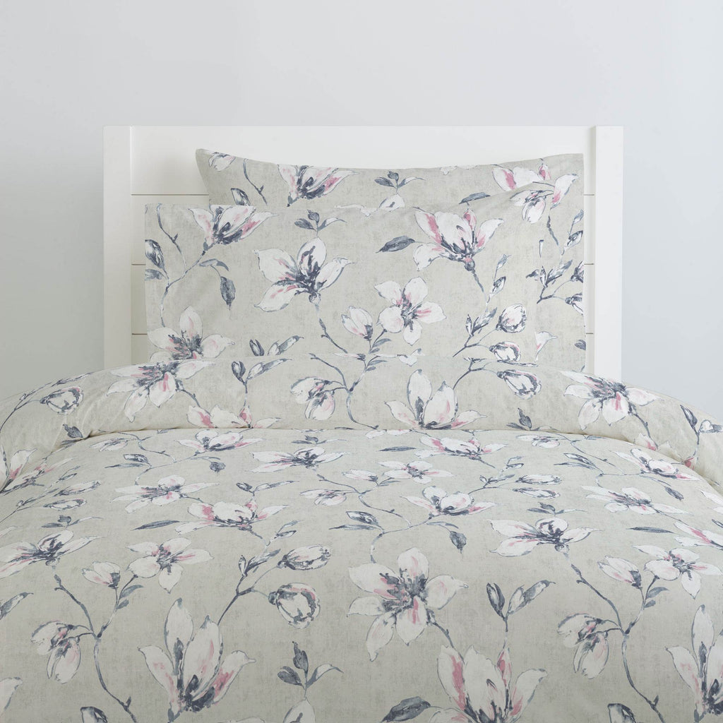 Product image for Pink and Blue Painted Lilies Duvet Cover