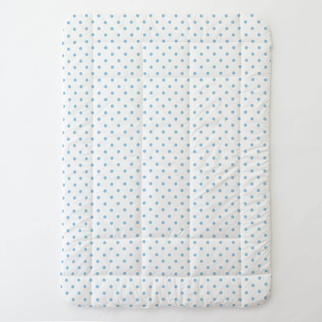 Product image for White and Lake Blue Dot Toddler Comforter