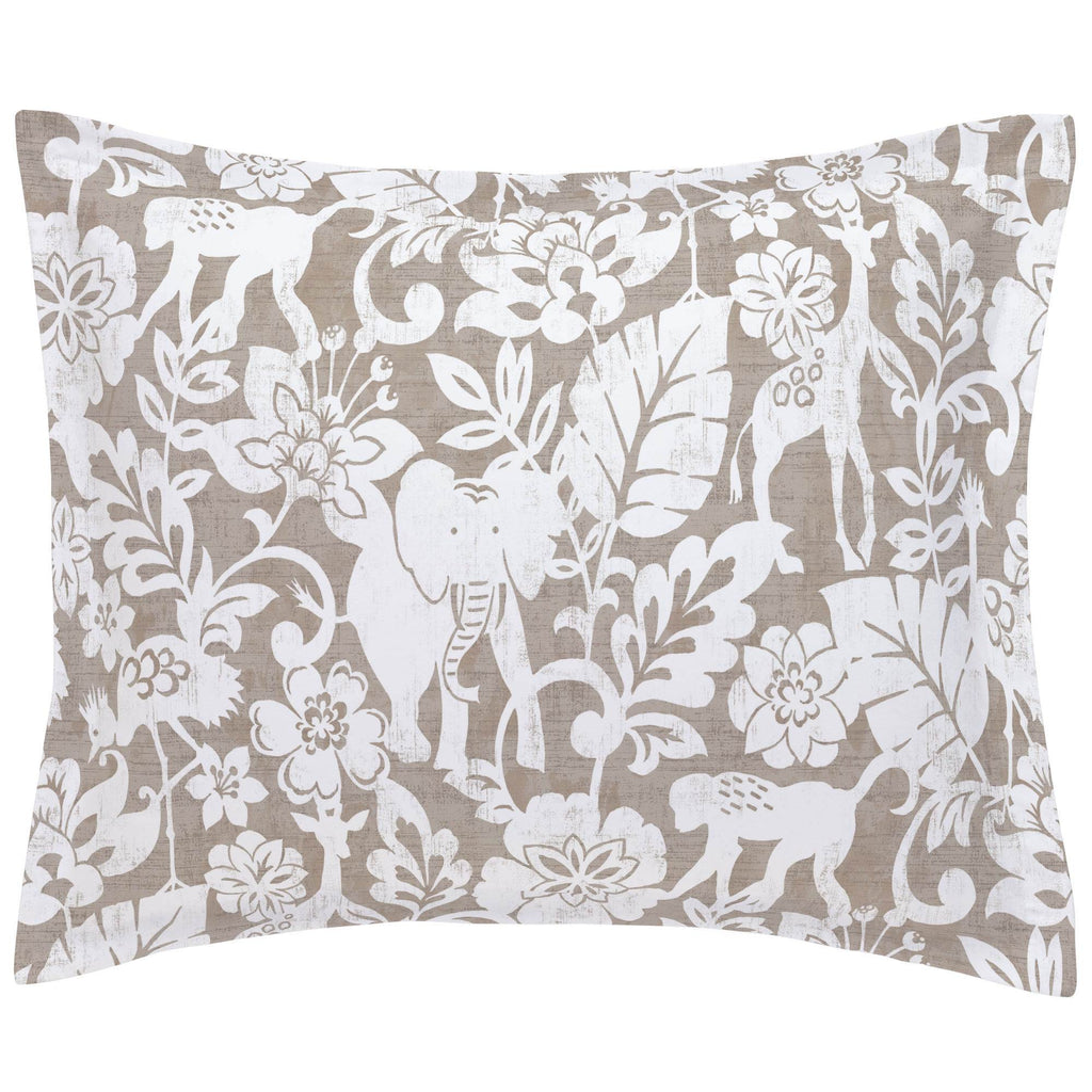 Product image for Taupe and White Jungle Pillow Sham