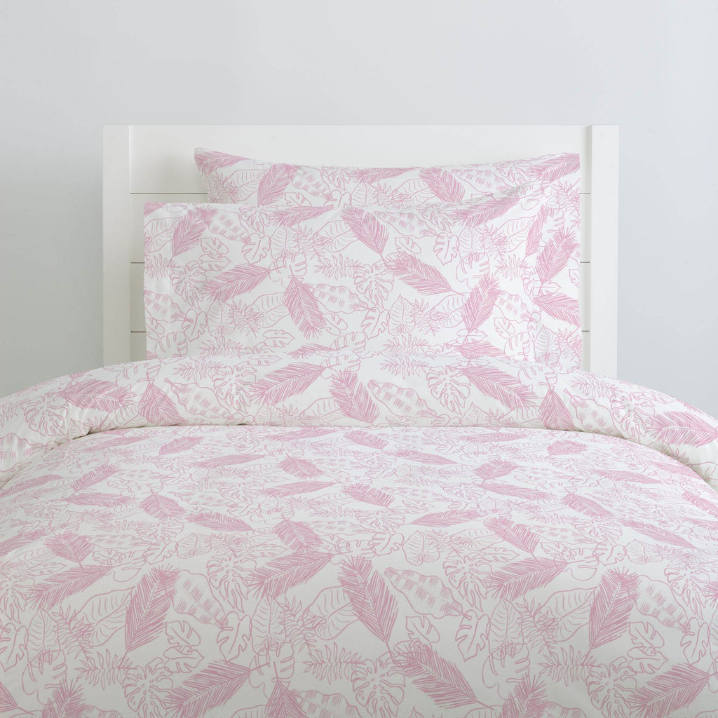 Product image for Bubblegum Palm Leaves Duvet Cover