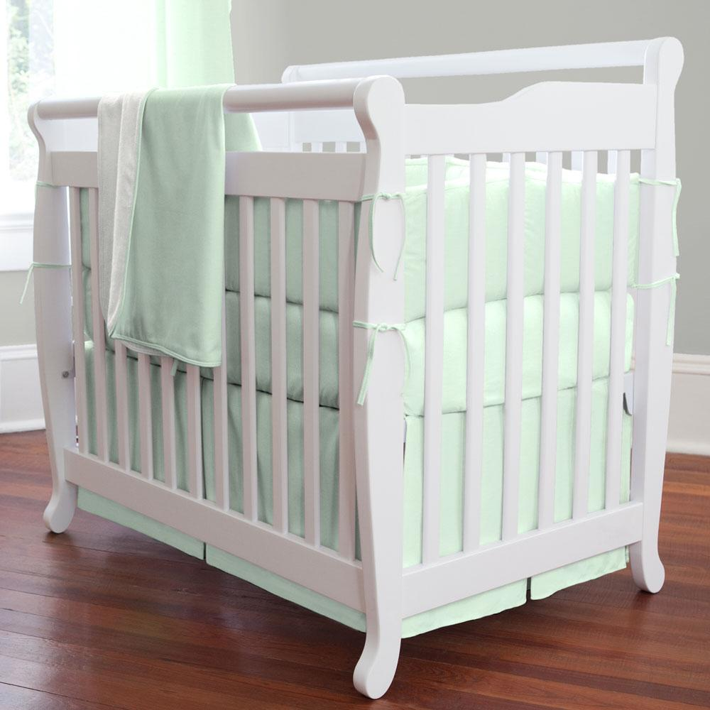 Product image for Solid Icy Mint Mini Crib Skirt