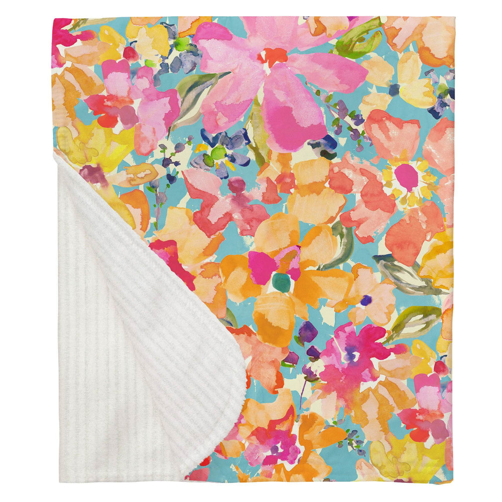 Product image for Coral Flower Bouquet Baby Blanket