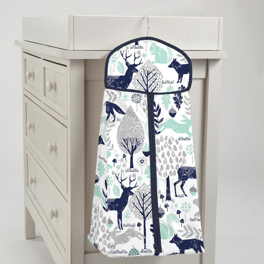Product image for Navy and Mint Woodland Animals Diaper Stacker