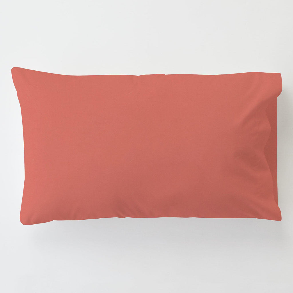 Product image for Solid Coral Toddler Pillow Case with Pillow Insert