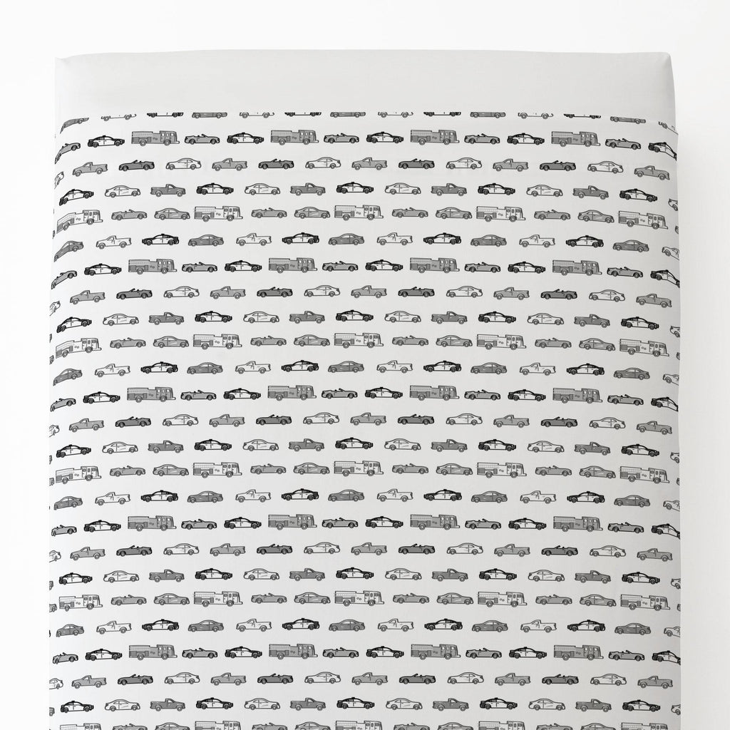 Product image for Gray Modern Cars Toddler Sheet Top Flat