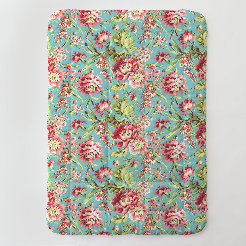 Product image for Coral and Teal Floral Toddler Comforter