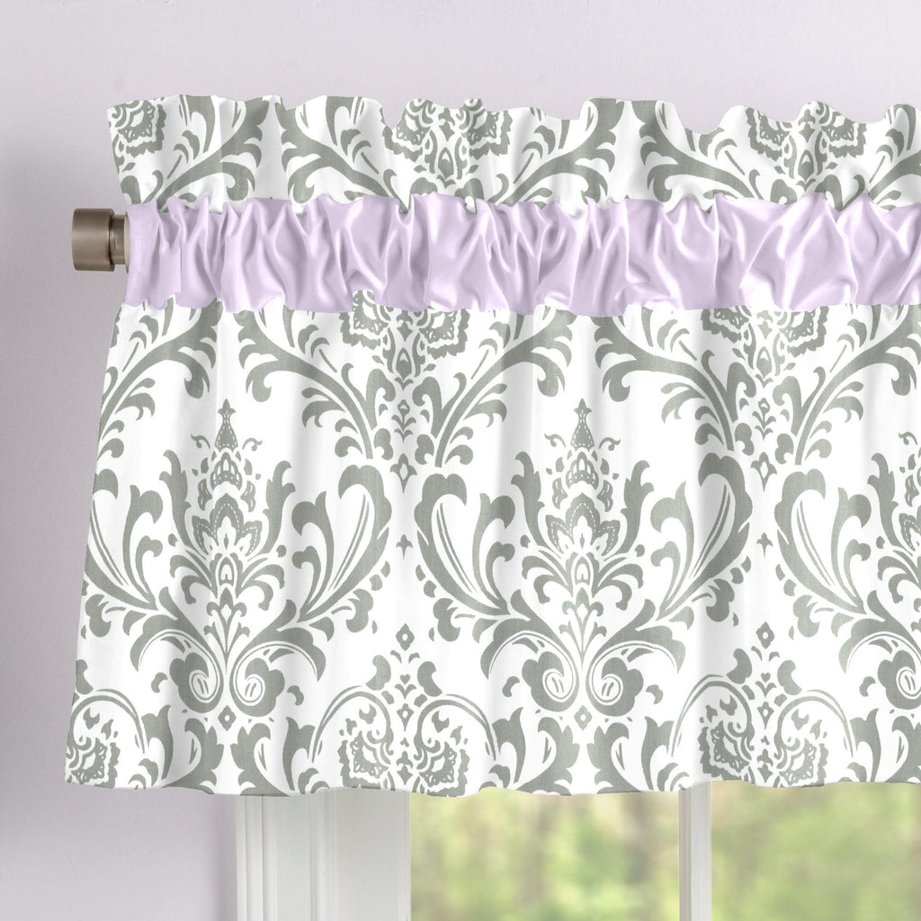 Product image for Lilac and Gray Traditions Damask Window Valance