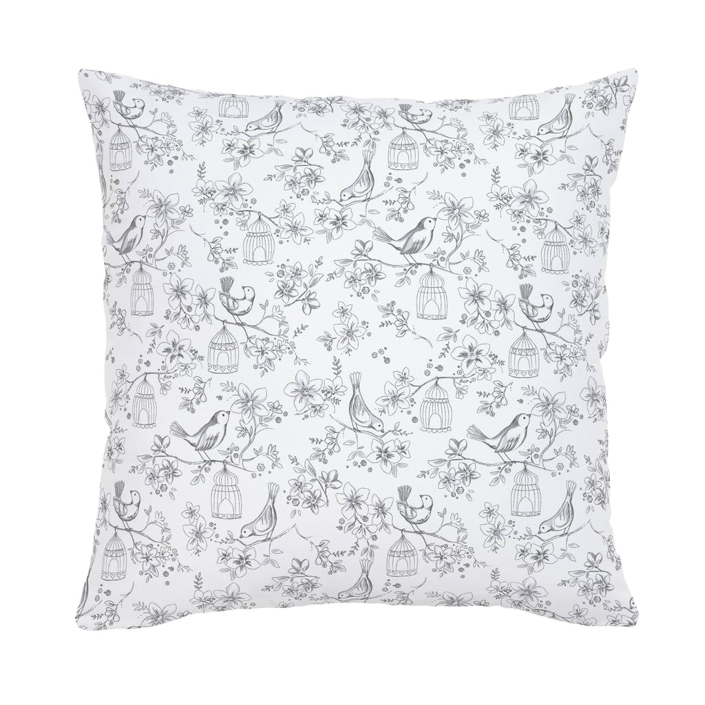 Product image for White and Gray Bird Cage Throw Pillow