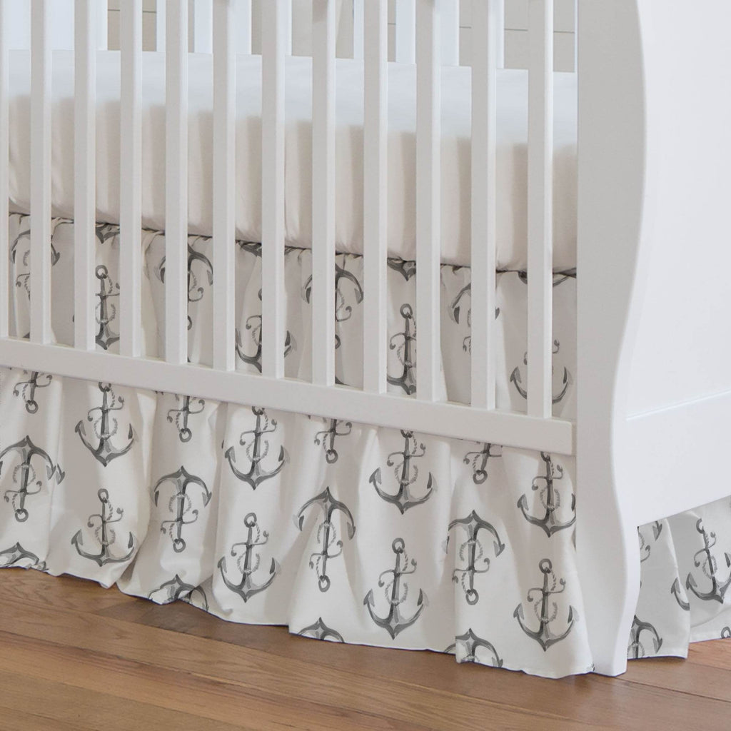 Product image for Gray Watercolor Anchors Crib Skirt Gathered