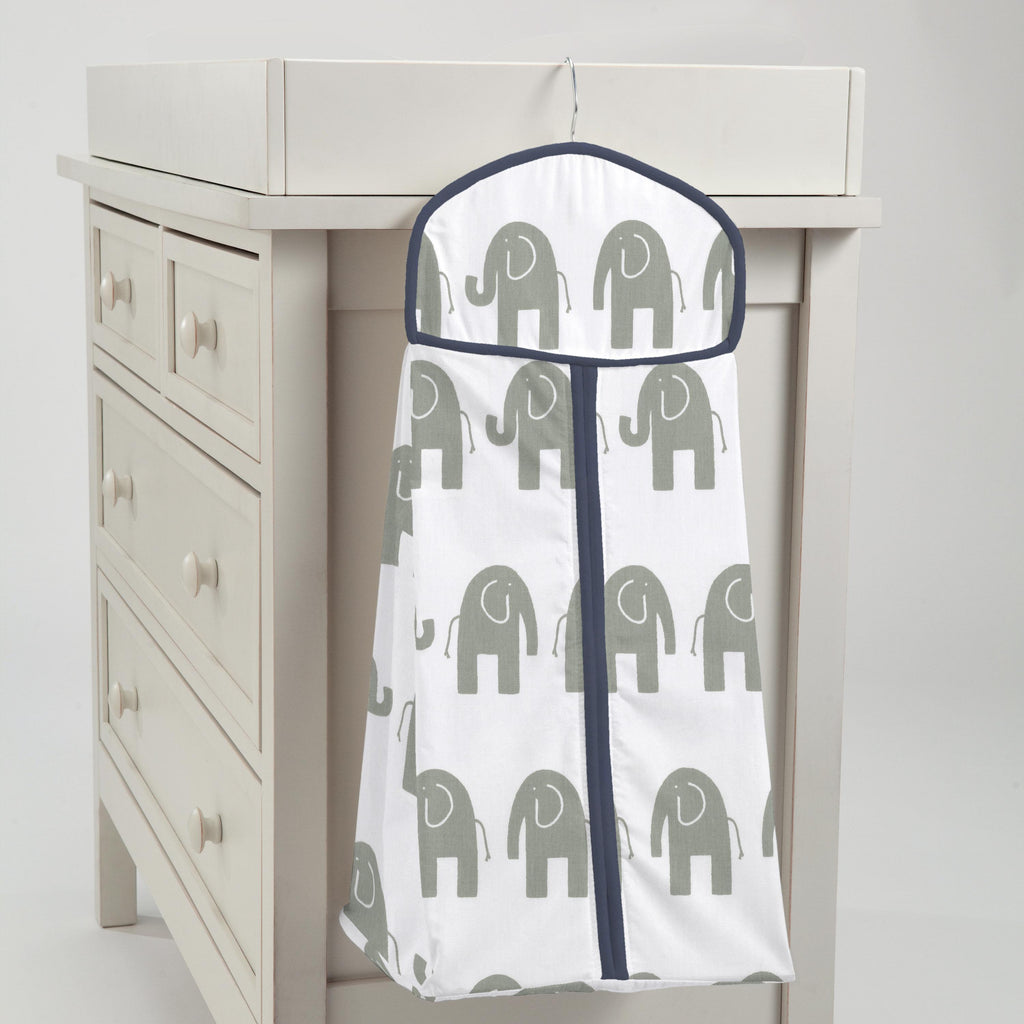 Product image for Navy and Gray Elephants Diaper Stacker