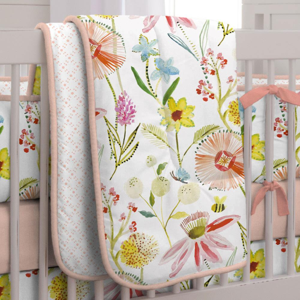 Product image for Watercolor Springtime Crib Comforter with Piping