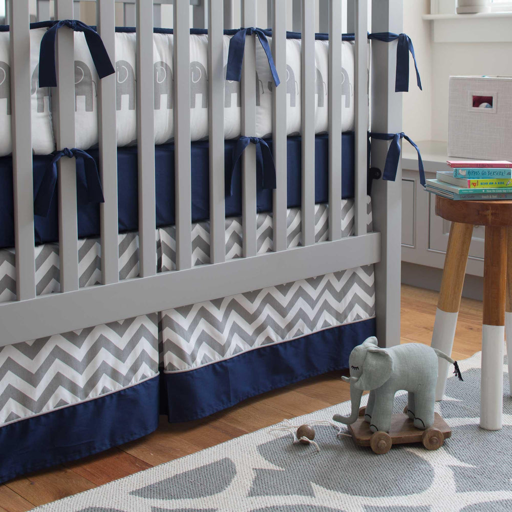 Product image for White and Gray Zig Zag Crib Skirt with Trim