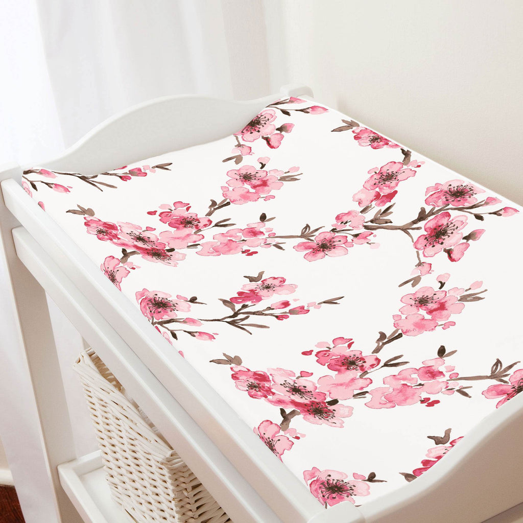 Product image for Pink Cherry Blossom Changing Pad Cover