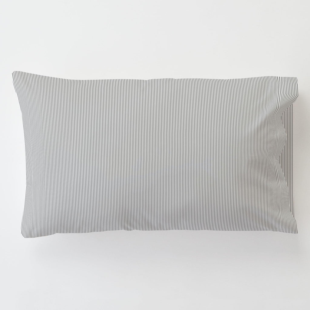 Product image for Cloud Gray Mini Stripe Toddler Pillow Case with Pillow Insert