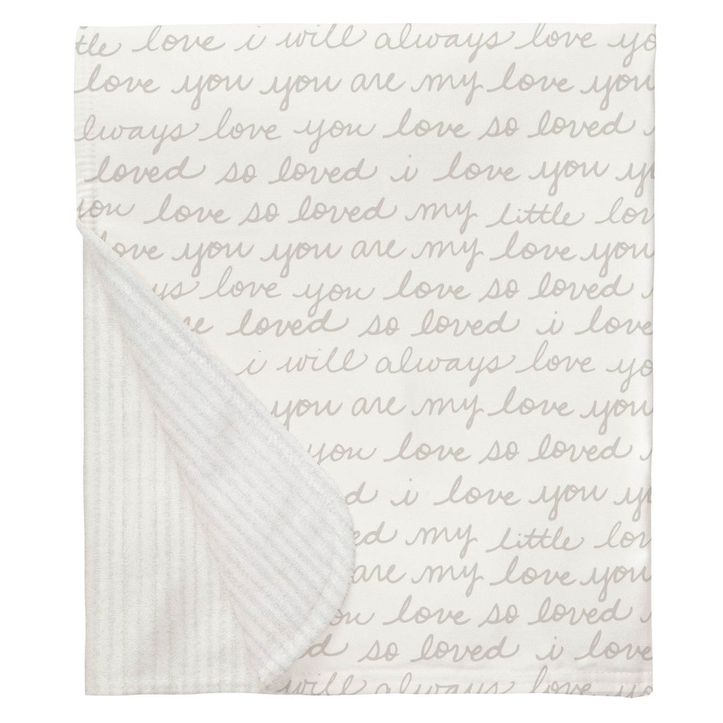 Product image for French Gray Love Words Baby Blanket