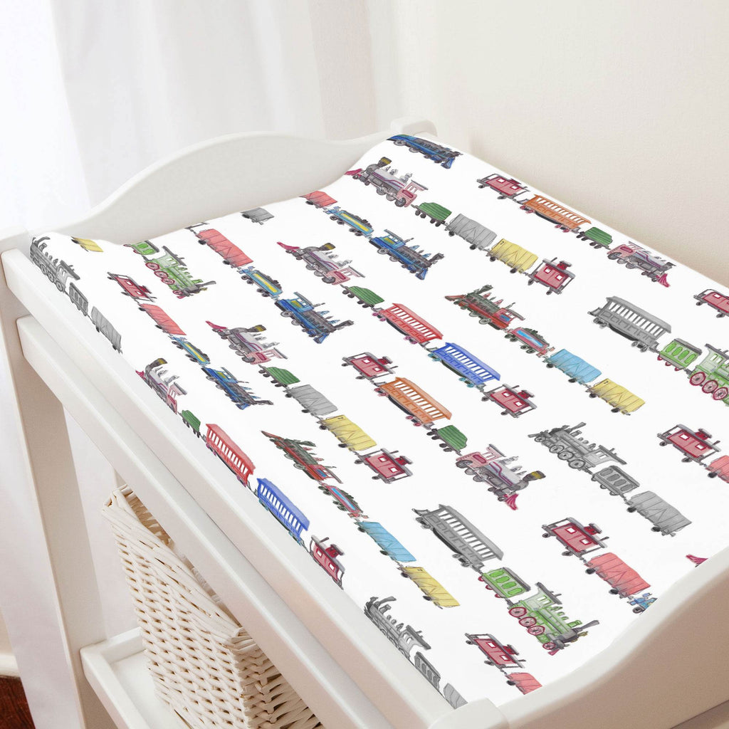 Product image for Watercolor Trains Changing Pad Cover
