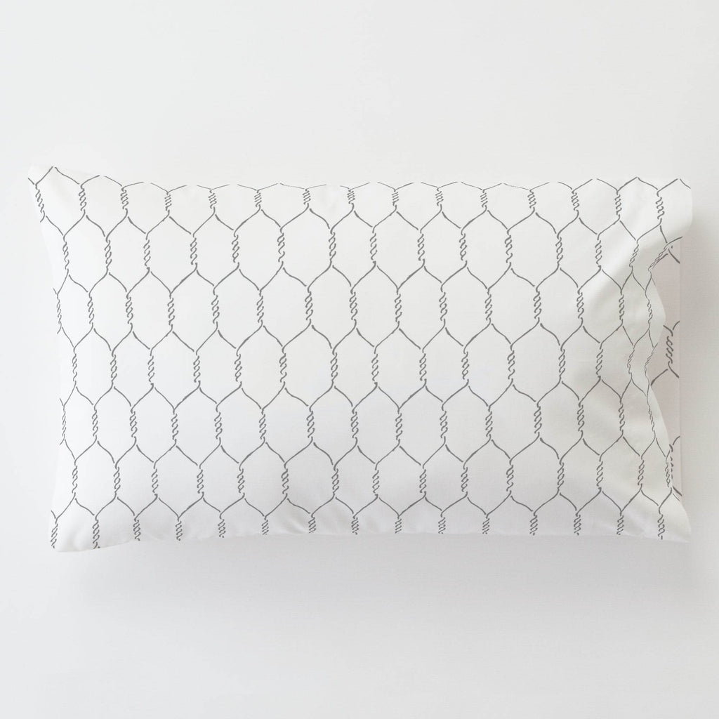 Product image for Gray Farmhouse Wire Toddler Pillow Case with Pillow Insert