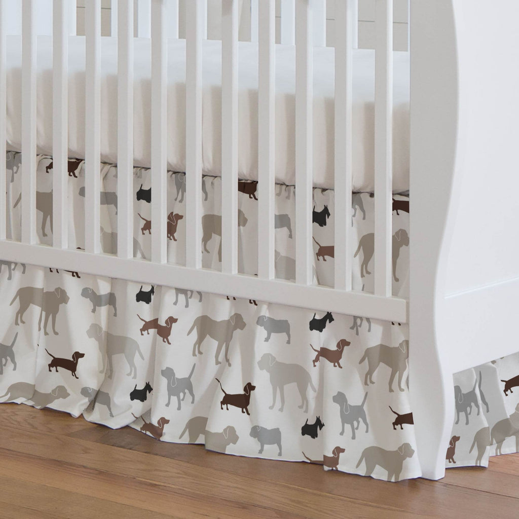 Product image for Brown and Gray Dogs Crib Skirt Gathered