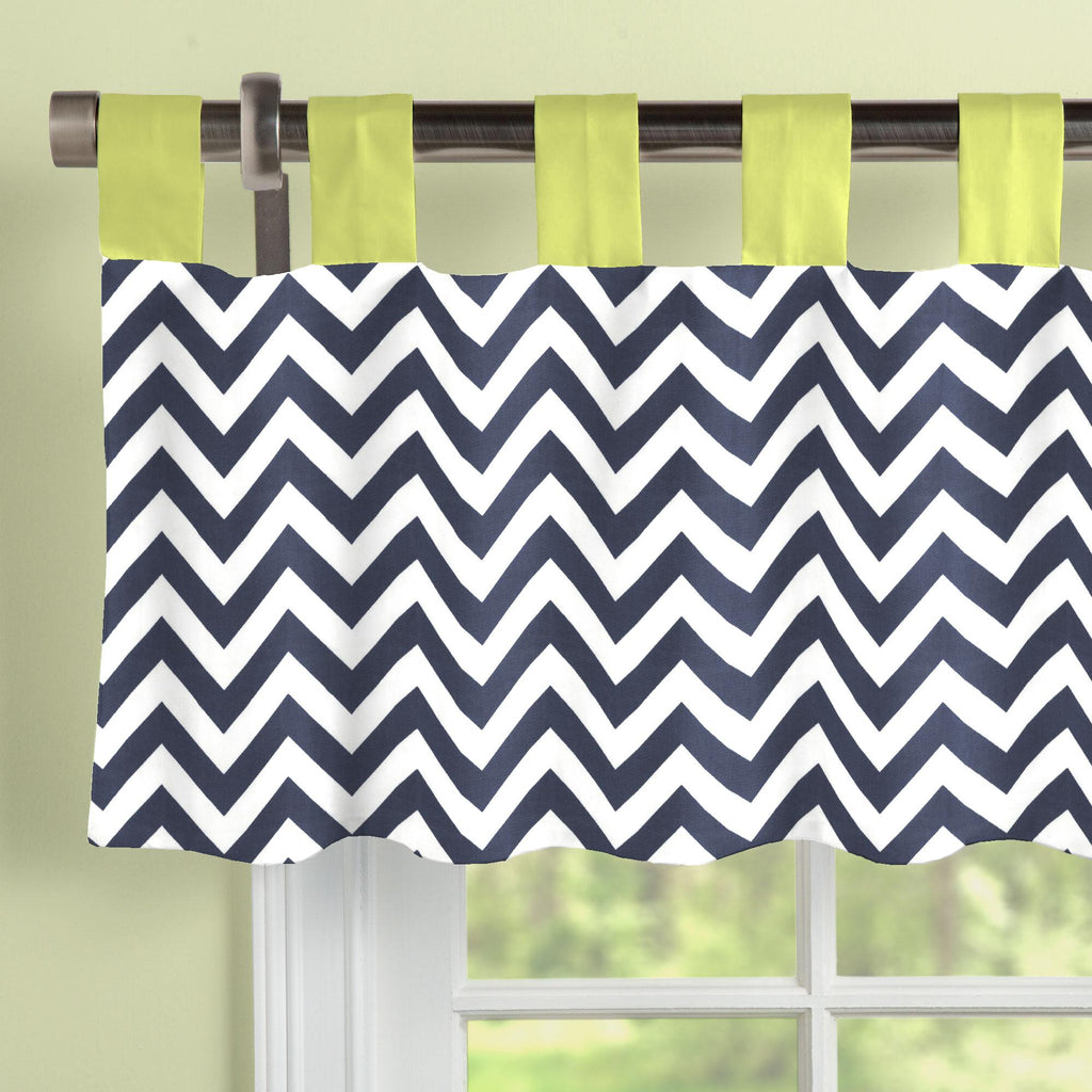 Product image for White and Navy Zig Zag Window Valance Tab-Top