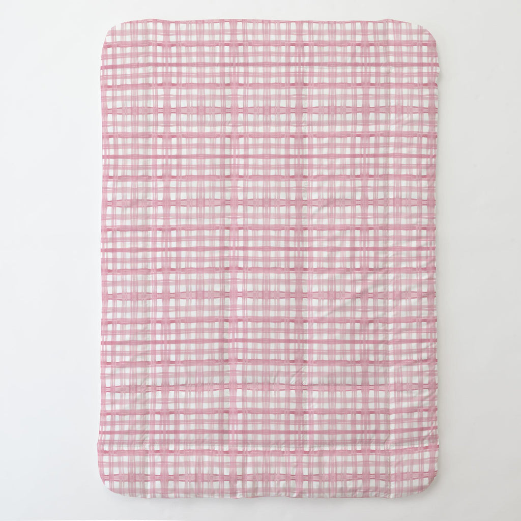 Product image for Pink Watercolor Plaid Toddler Comforter
