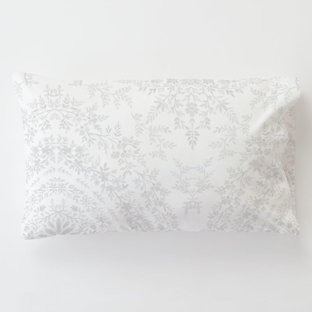Product image for Gray Floral Damask Toddler Pillow Case with Pillow Insert