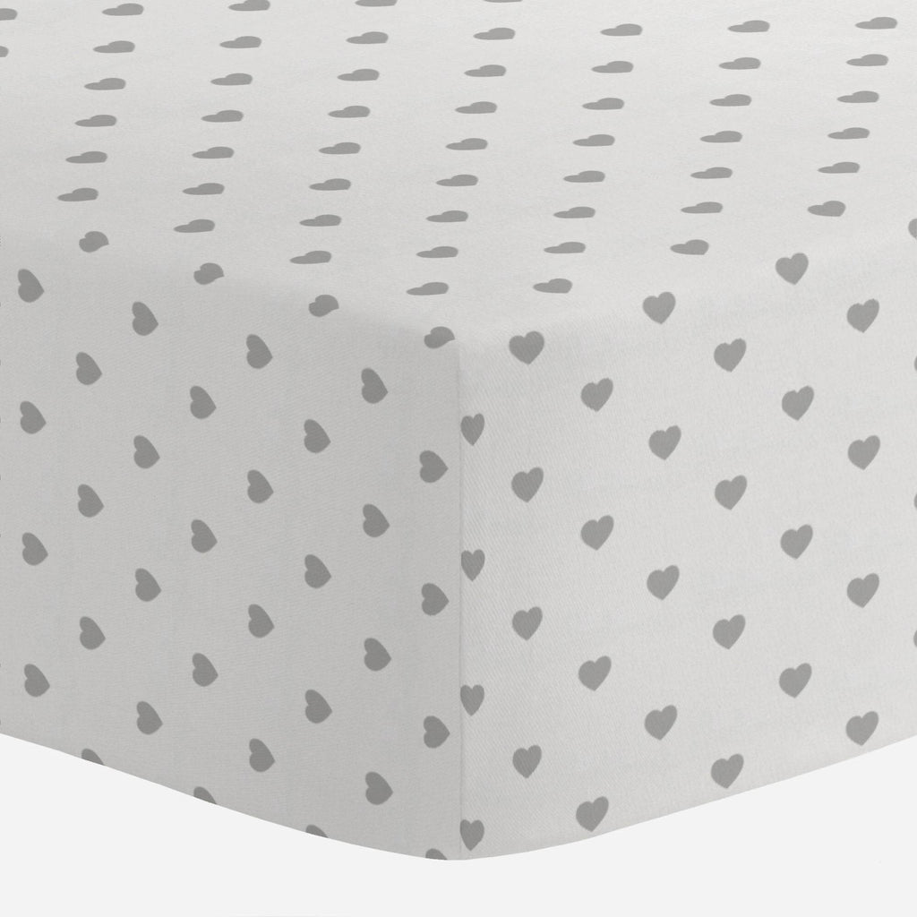Product image for Gray Hearts Crib Sheet