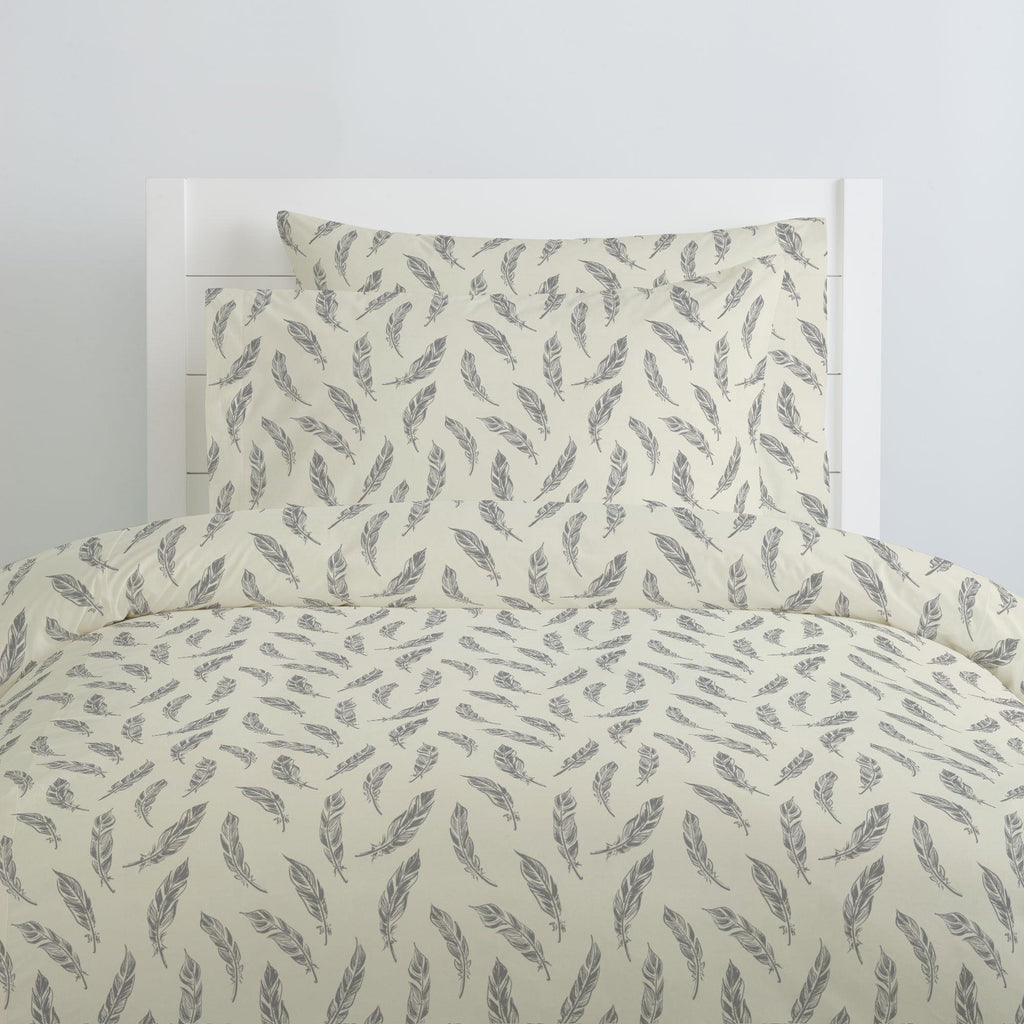Product image for Natural Gray Feathers Duvet Cover
