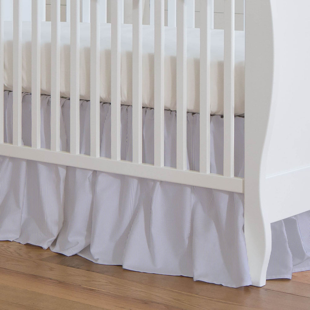 Product image for Lilac Mini Stripe Crib Skirt Gathered