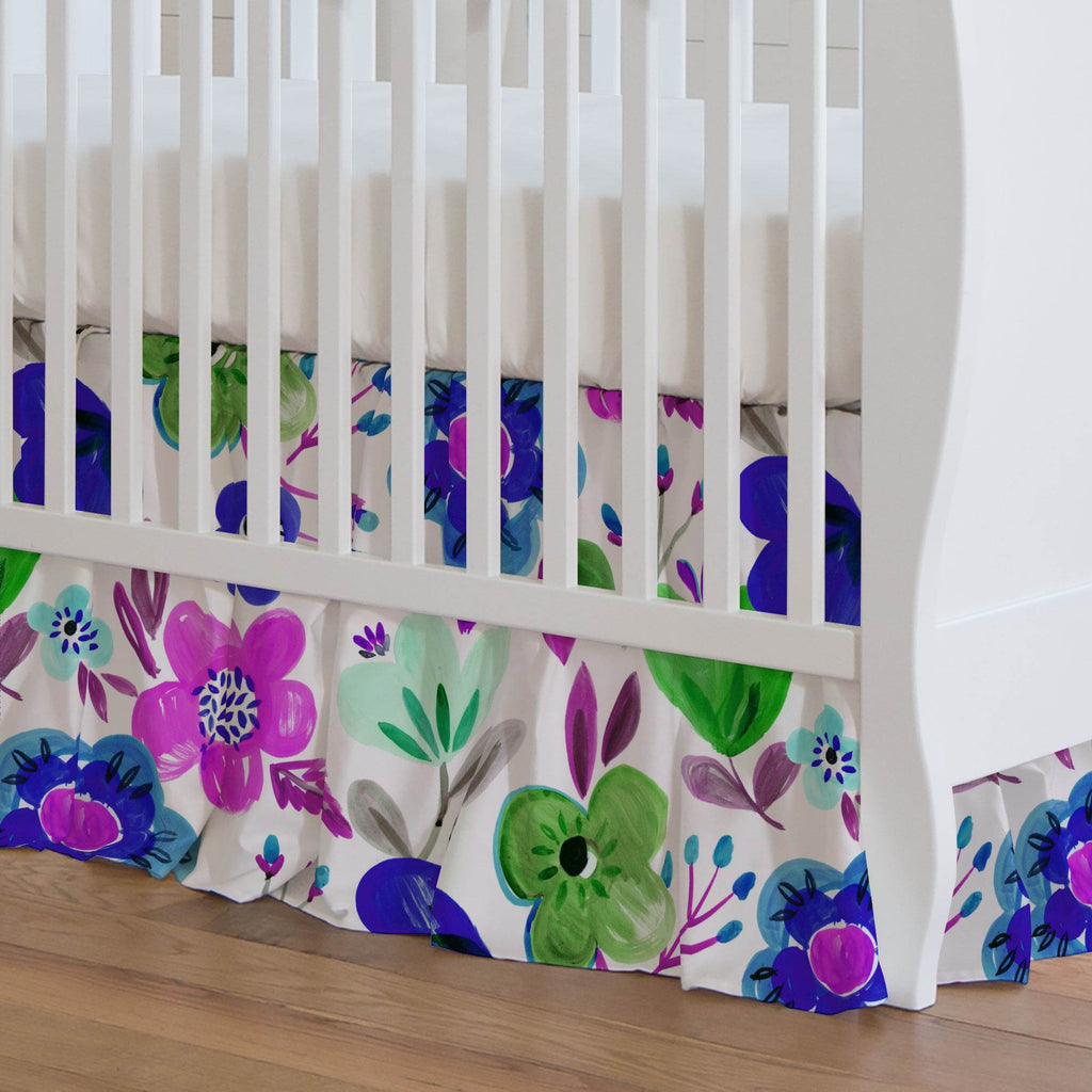 Product image for Purple Painted Flowers Crib Skirt Gathered