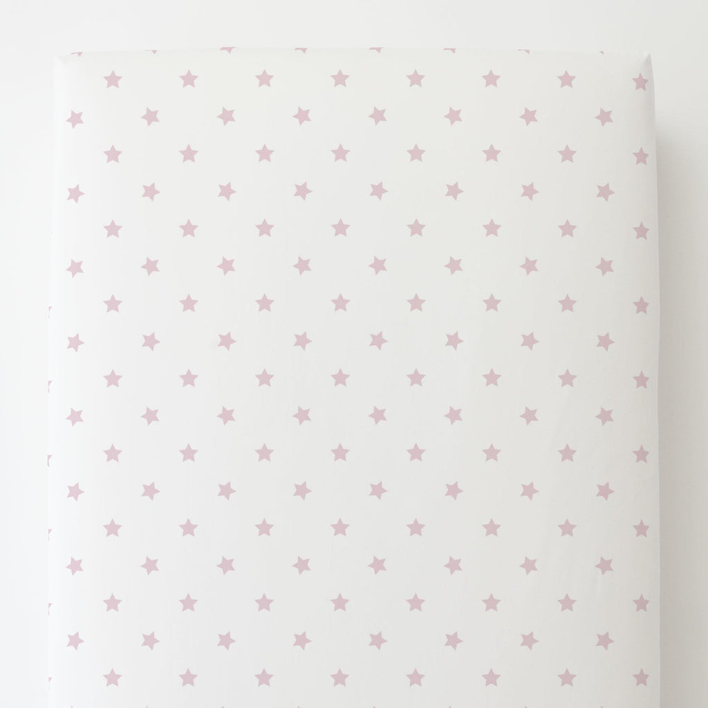 Product image for Pink Stars Toddler Sheet Bottom Fitted
