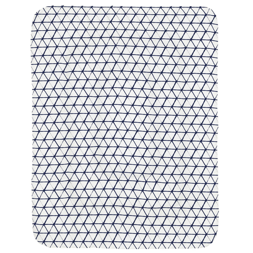 Product image for White and Navy Aztec Triangles Crib Comforter