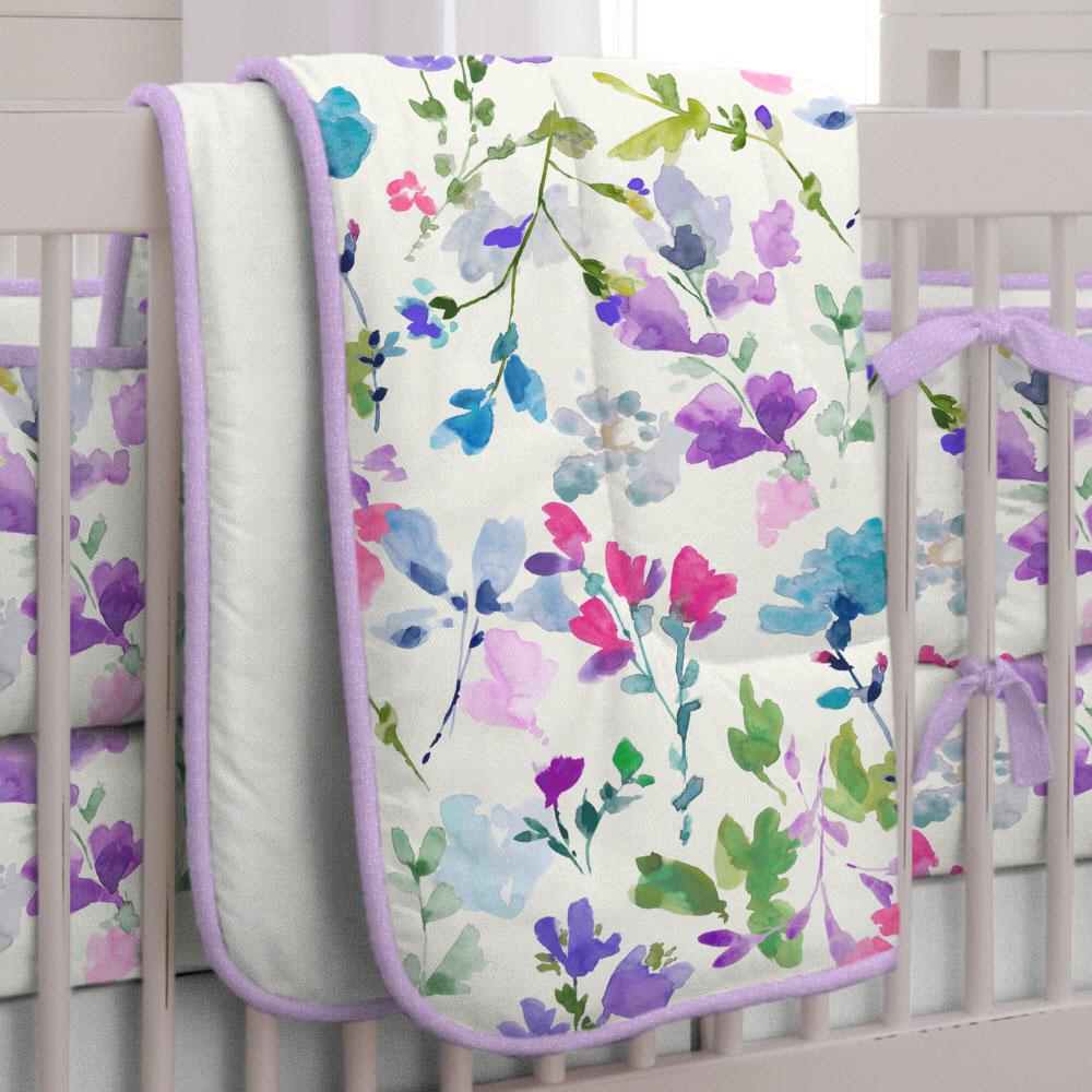 Product image for Bright Wildflower Crib Comforter with Piping