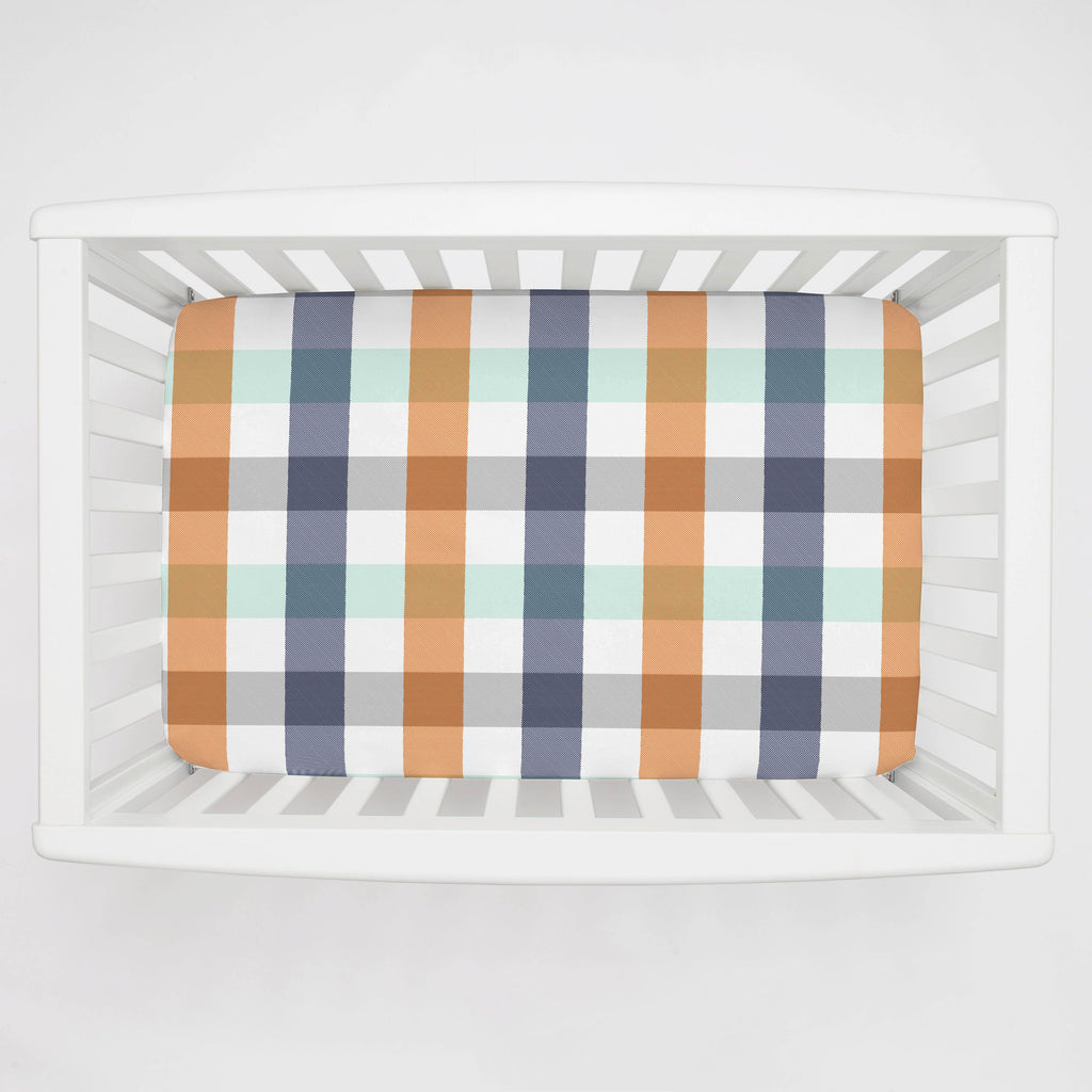 Product image for Navy and Orange Buffalo Check Mini Crib Sheet