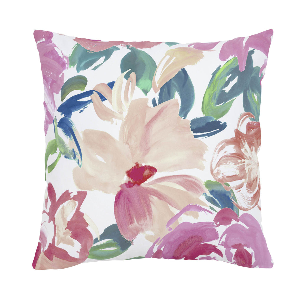 Product image for Pink Brushstroke Floral Throw Pillow