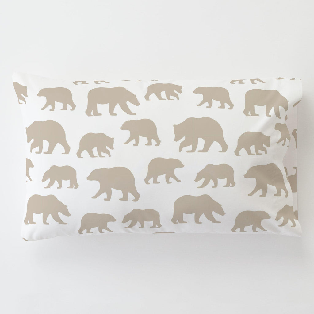 Product image for Taupe Bears Toddler Pillow Case with Pillow Insert