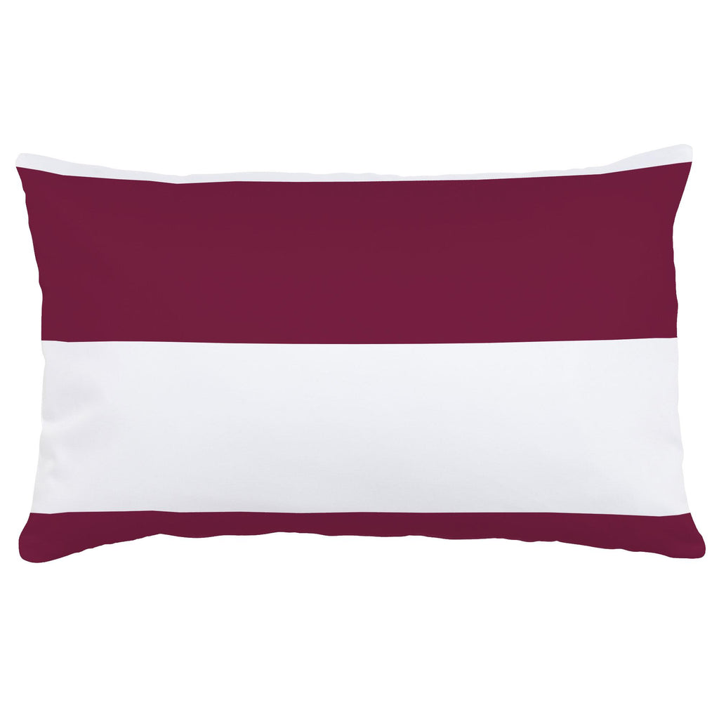 Product image for Maroon Horizontal Stripe Lumbar Pillow