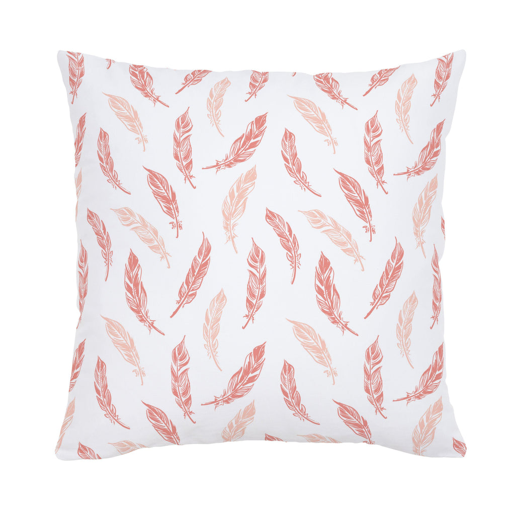 Product image for Light Coral and Peach Hand Drawn Feathers Throw Pillow