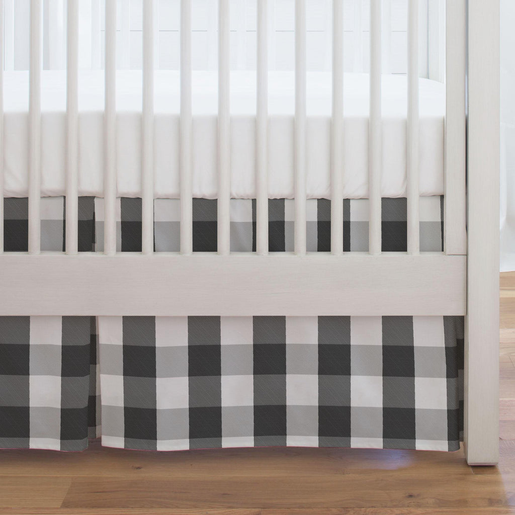 Product image for Onyx and Cloud Gray Buffalo Check Crib Skirt Single-Pleat