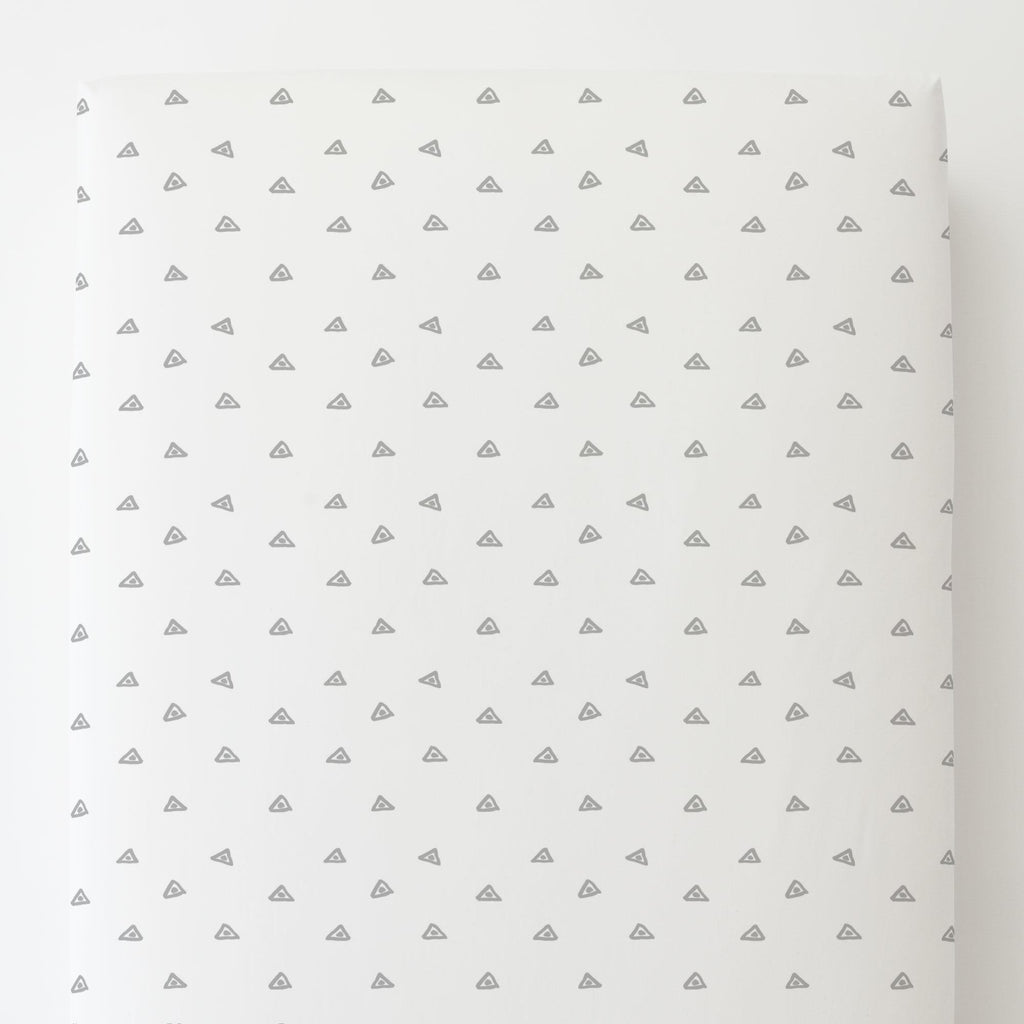 Product image for Silver Gray Triangle Dots Toddler Sheet Bottom Fitted