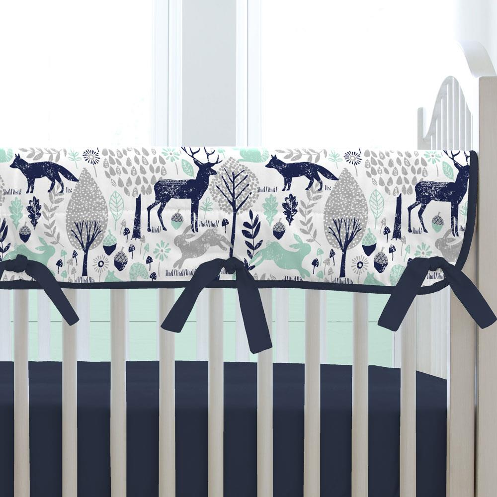 Product image for Navy and Mint Woodland Animals Crib Rail Cover