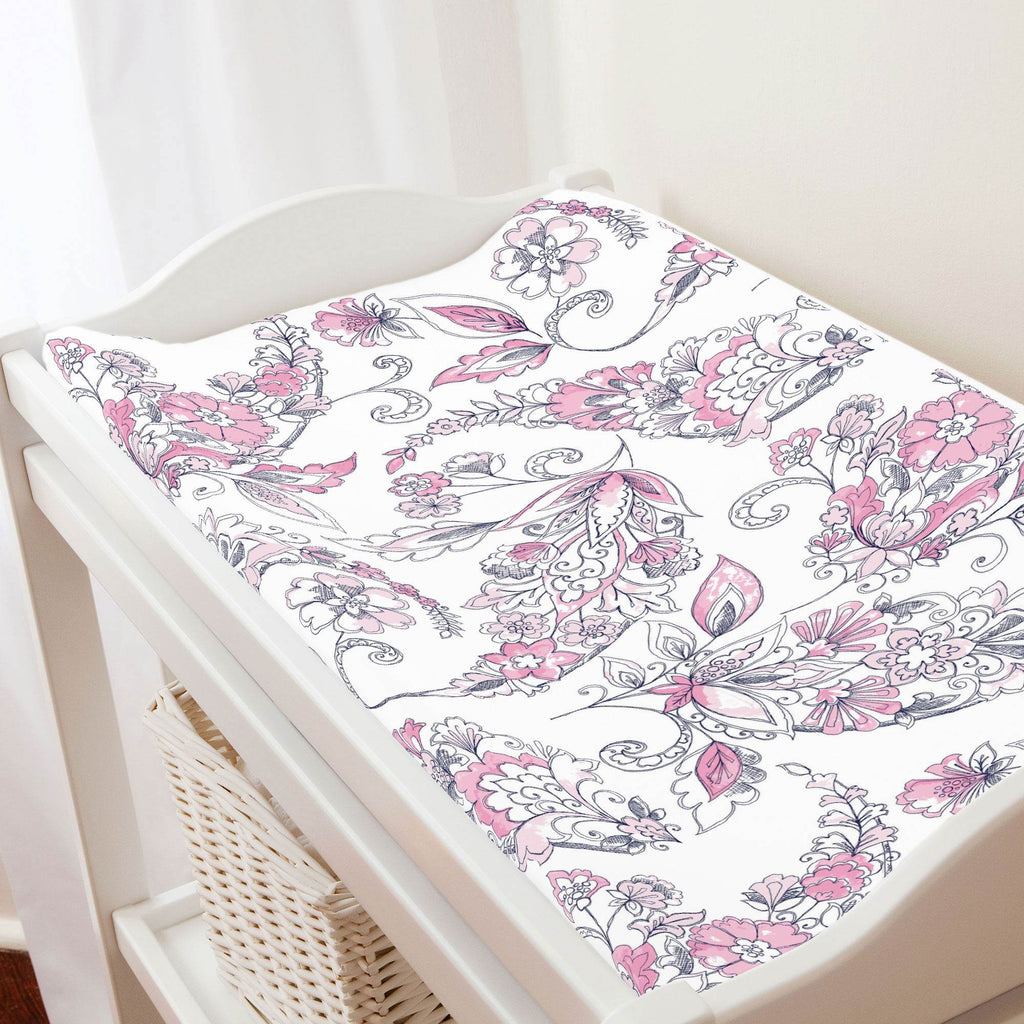 Product image for Pink and Navy Sketchbook Floral Changing Pad Cover