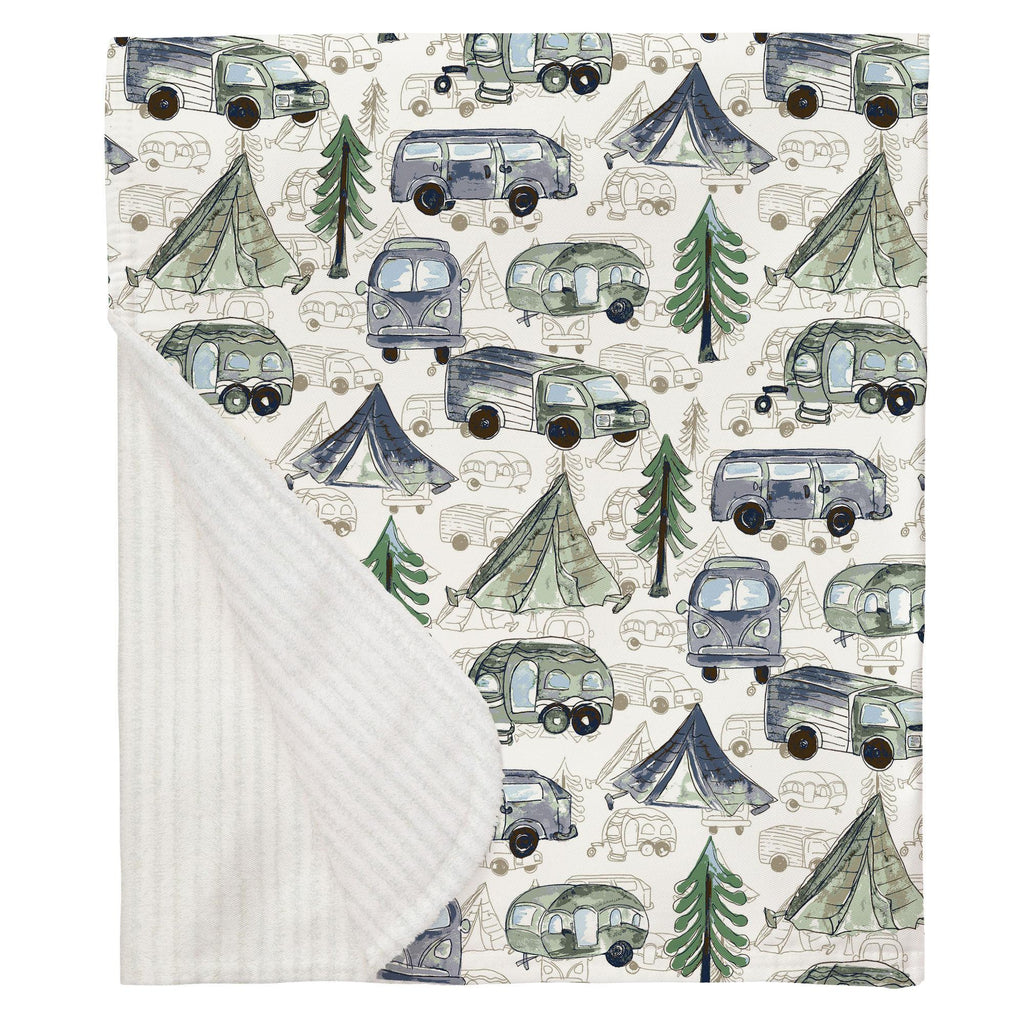 Product image for Navy and Seafoam Gone Camping Baby Blanket