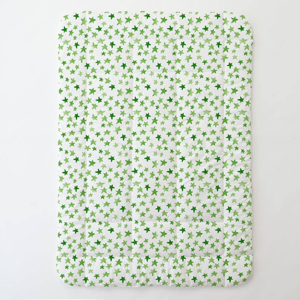 Product image for Green Watercolor Stars Toddler Comforter